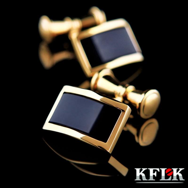 KFLK მაისურის ღუმელები მამაკაცებისთვის ბრენდის ოქროს ფერის ჯაჭვის მოდის კაბების ბმულები ღილაკზე მაღალი ხარისხის ძვირადღირებული საქორწილო სასიძო უფასო მიწოდება