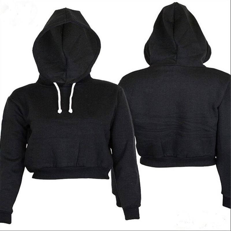 Fashion Women Sweatshirt 19 Hot Sale Hoodies Solid Crop Hoodie Long Sleeve Jumper Hooded Pullover Coat Casual Sweatshirt Top 3