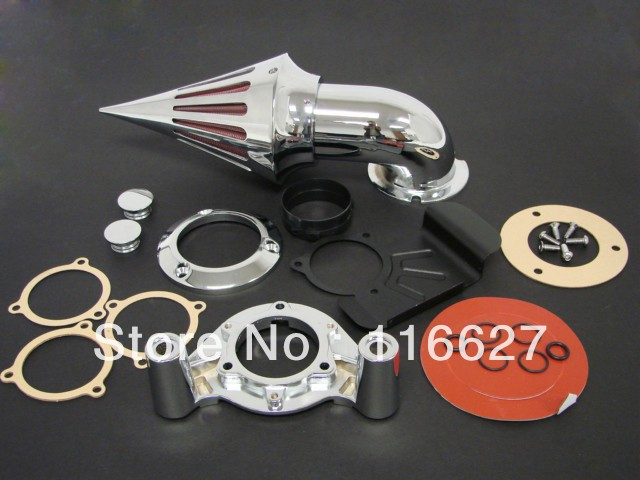 Freeshipping CHROME SPIKE AIR CLEANER FILTER KIT FOR 2008+ HARLEY TOURING 2009 2010 2011 2012 купить