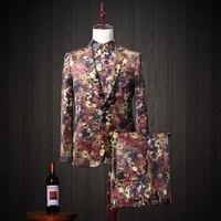 Plus Size High Quality Men Suits Moda Slim Style Wedding Party Wear Pełna Rękawem Pojedyncze Łuszcz Kurtka + Spodnie + koszula 3 sztuk/zestaw