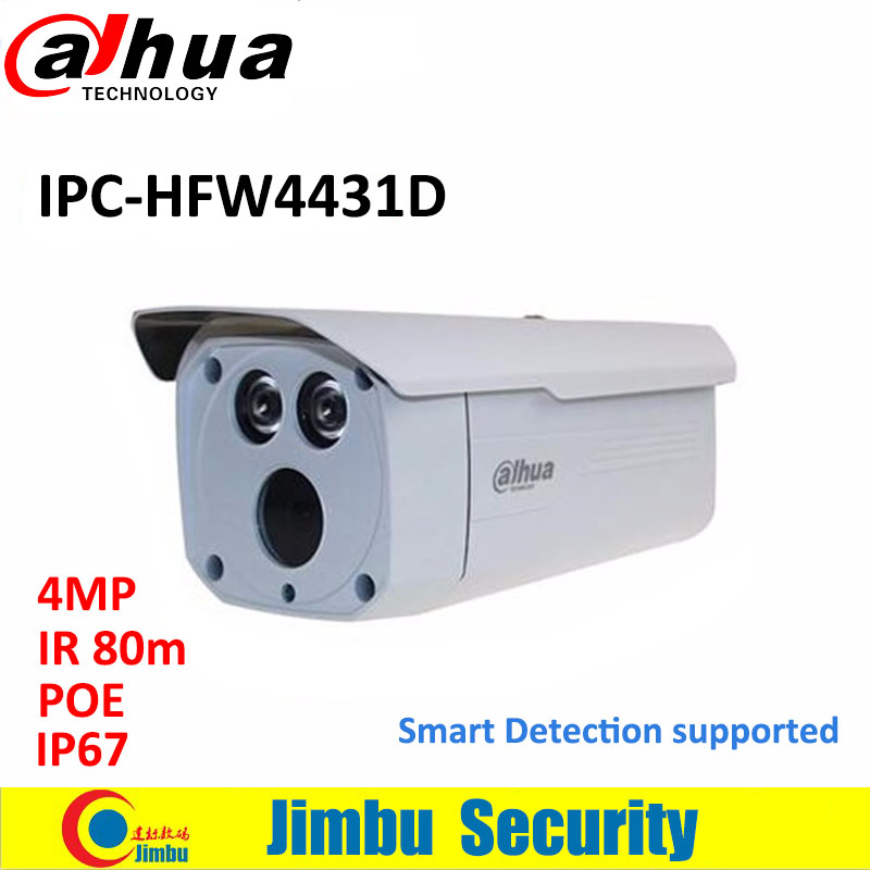 Dahua 4MP security IP camera IPC-HFW4431D support POE 6mm Lens IR 80m H.265 WDR CCTV Bullet Network Camera Replace IPC-HFW4421D lwstfocus h 265 264 ipc hd 4mp network ip camera ov4689 hi3516d security cctv bullet camera support poe lwbp60s400 ir 60m onvif