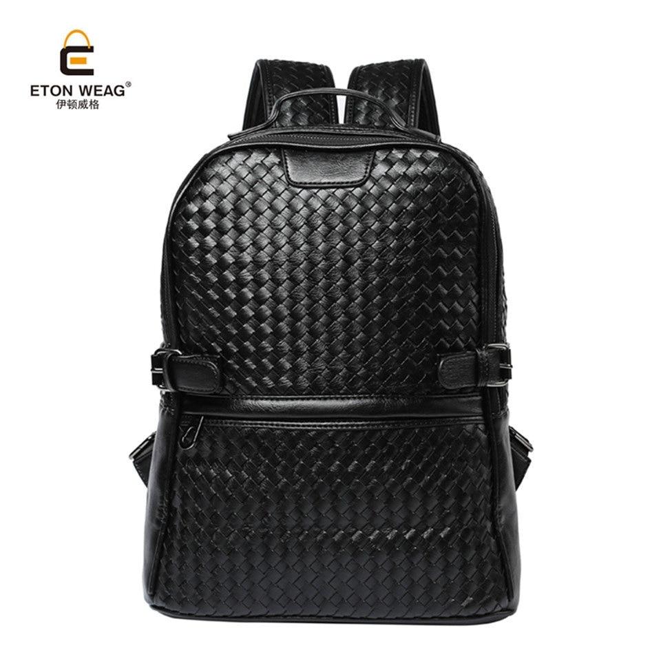 все цены на ETONWEAG 2017 Men Weave Microfiber Leather Backpack Male Bagpack Big School Bags Student Men's Laptop Daypack Mens Travel Bag