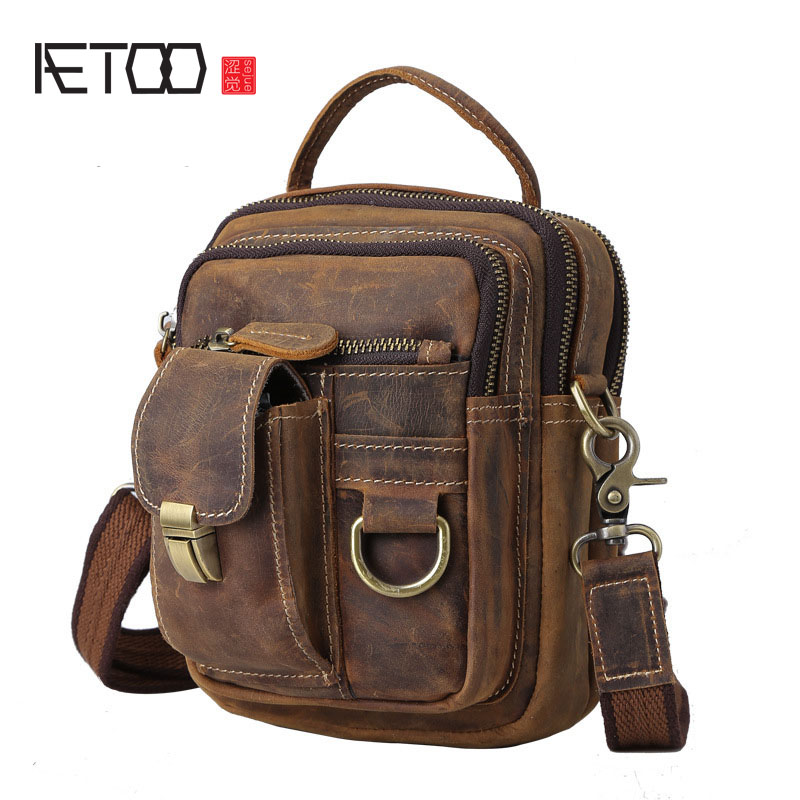 AETOO Europe and the United States selling multi-functional mad horse large capacity shoulder bag hand luggage bag men M aetoo europe and the united states fashionable women s bag new leather ladies handbag large capacity diagonal shoulder bag