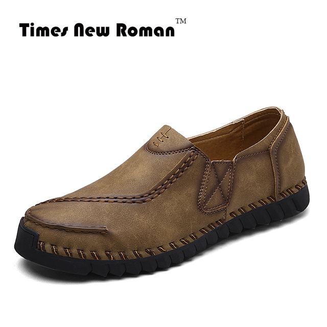 cfe7fd549ad Times New Roman Brand Men s Loafers Leather Casual Men Shoes Summer Slip-on  Shoes For Men flats Moccasins