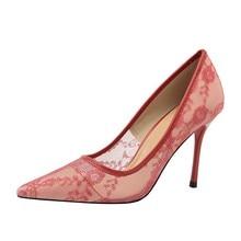 {D & Henlu} חתונה נעל תחרה גבוהה עקבים חלולים עקבים נעלי כלה לבן נעלי אישה גבוהה העקב חתונה משאבות הבוהן מחודדת משאבות
