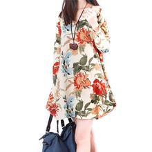 Summer Style Women Clothing 2016 Top Fashion New Trendy Autumn Vestido Floral Print Linen Casual Loose Long Sleeve Dress