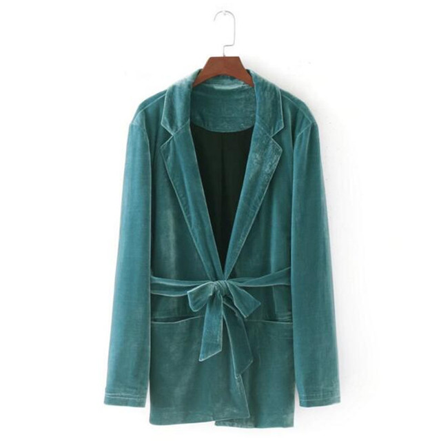 74e632d0e US $27.24 |Vintage Green Notched Collar Velour Blazer With Sashes New Woman  Slim Fit Mid long Suit Jacket Velvet Coat Outerwear With Belt-in Blazers ...