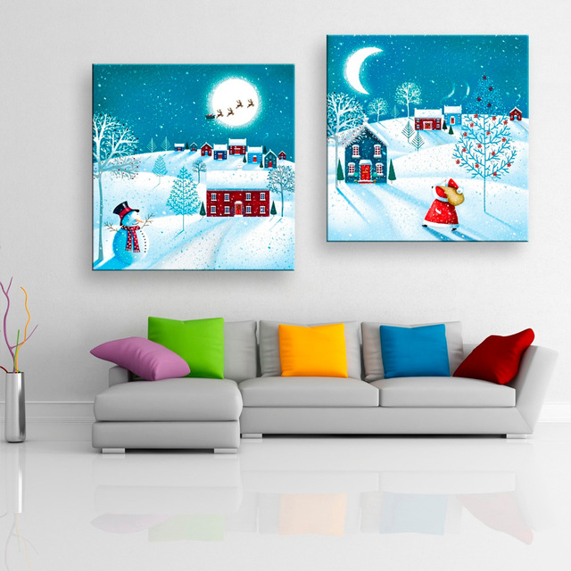Buy 2 pieces christmas decoration canvas for Home decoration pieces