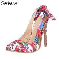 Sorbern Fashion Pumps For Women Floral High Heel Size 11 Women Shoes High Heels Slingbacks Bowknot Heels Closed Brand Heels
