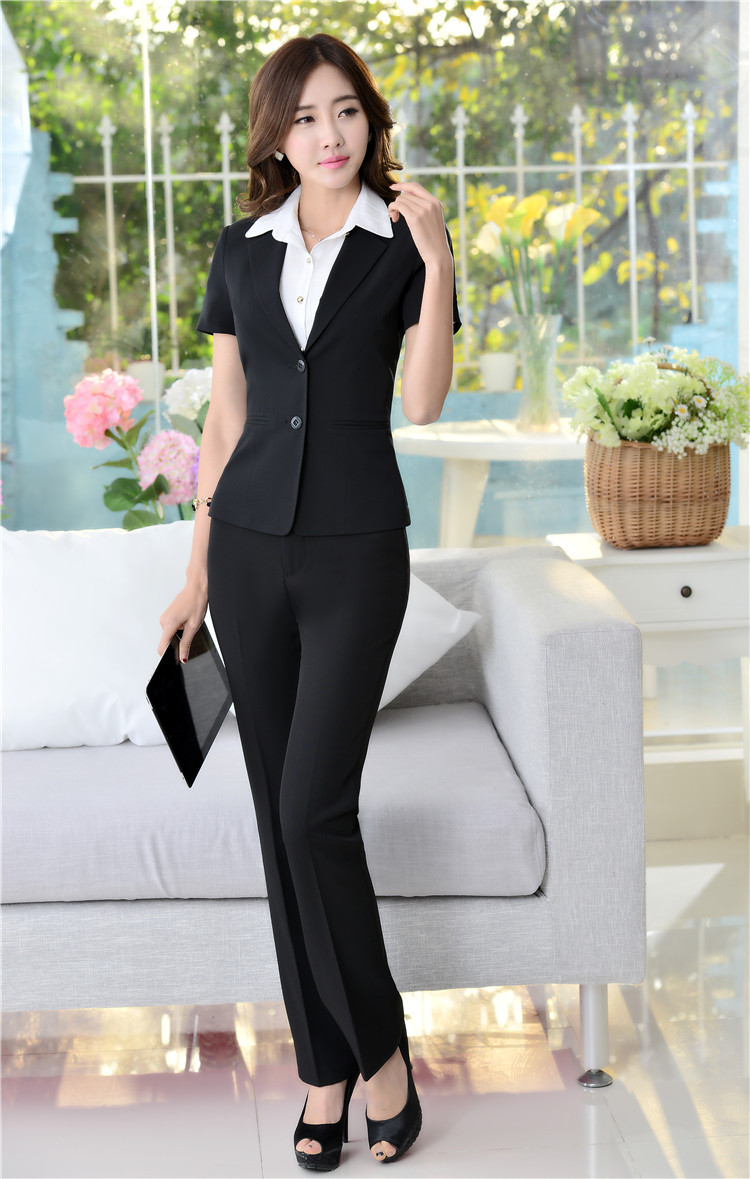 Online Shop Summer Blazer Ladies Pant Suits for Women Business ...