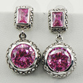 Pink Simulated Sapphire 925 Sterling Silver Earrings TE520