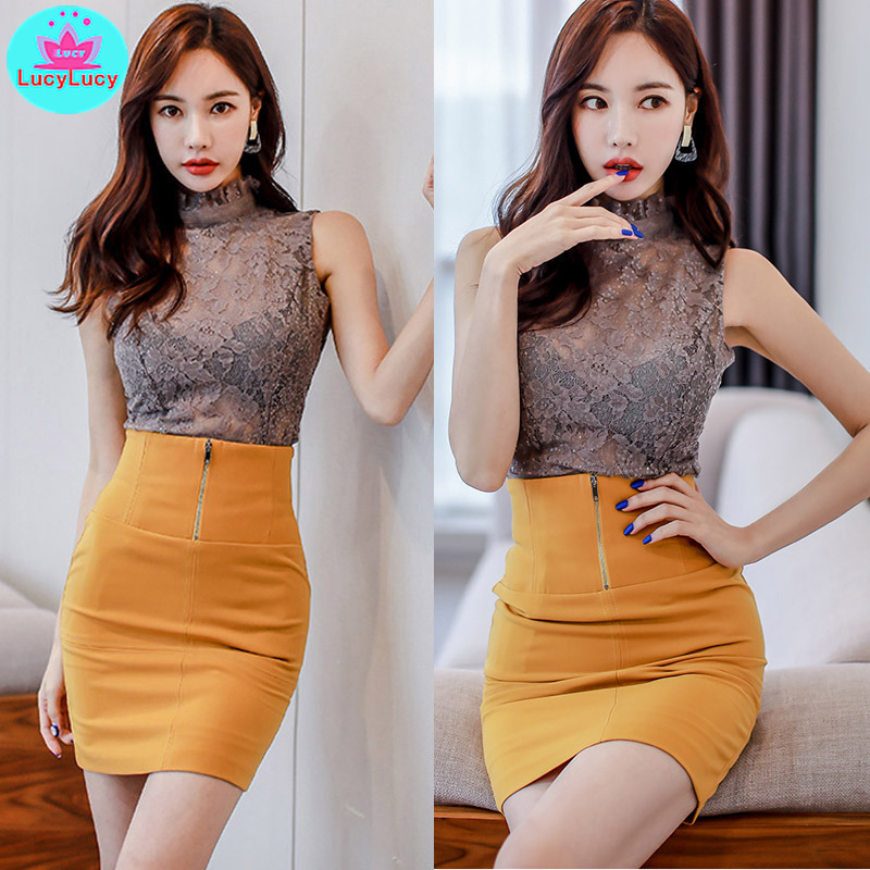 Women 39 s 2019 summer new Korean temperament lace perspective vest waist pocket hip two piece suit Knee Length Turtleneck in Women 39 s Sets from Women 39 s Clothing