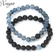 XINYAO 1pc/lot 8 mm Natural Stone Beads Bracelets Black Weathered Agates Couple Bangles With Volcano Stone Beads for Mens F7358(China)