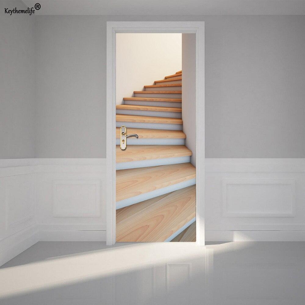 Keythemelife 2 pcs/ensemble Bois Escaliers Mur Autocollant DIY Peint Décoration Affiche PVC Étanche Imitation 3D Porte Autocollant Decal F