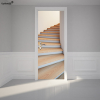 Keythemelife 2pcs/set Wood Stairs Wall Sticker DIY Mural Home Decoration Poster PVC Waterproof Imitation 3D Door Sticker Decal F