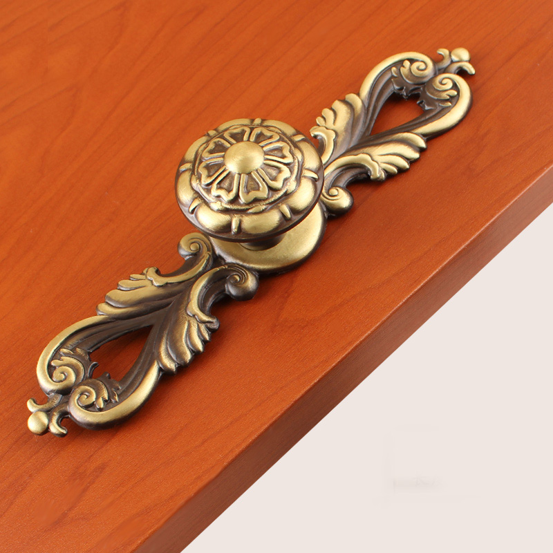 Solid Brass Copper Drawer Design Door Handle Knobs Furniture European Antique  Art Cabinet Handle(L:159mm) new antique boutique drawer bookcase wardrobe door art cabinet handle solid brass l 148mm