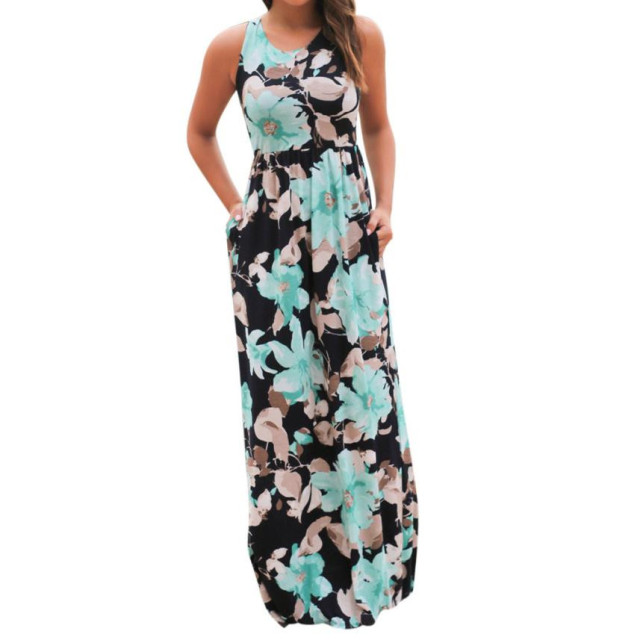 f2bc5ba952e87 Plus Size Summer Boho Long Maxi Beach Dress Women Sleeveless Floral Dress Off  Shoulder Dresses O Neck Sundress Pocket Dresses 21