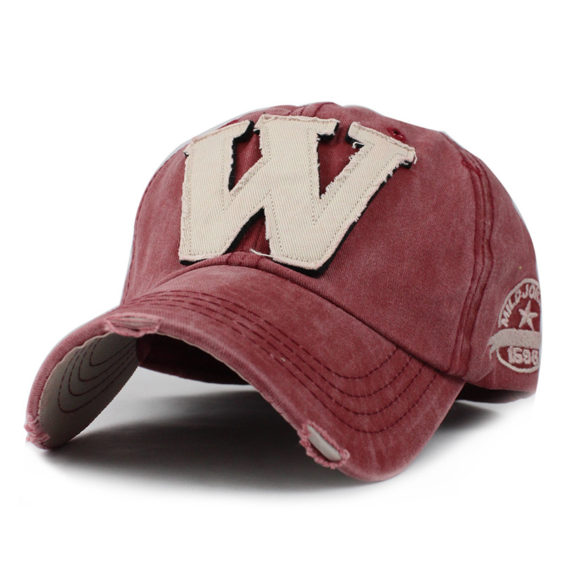 Cotton-Embroidery-Letter-W-Baseball-Cap-Snapback-Caps-Bone-Sports-Hat-Distressed-Wearing-Style-Outdoor-Hat