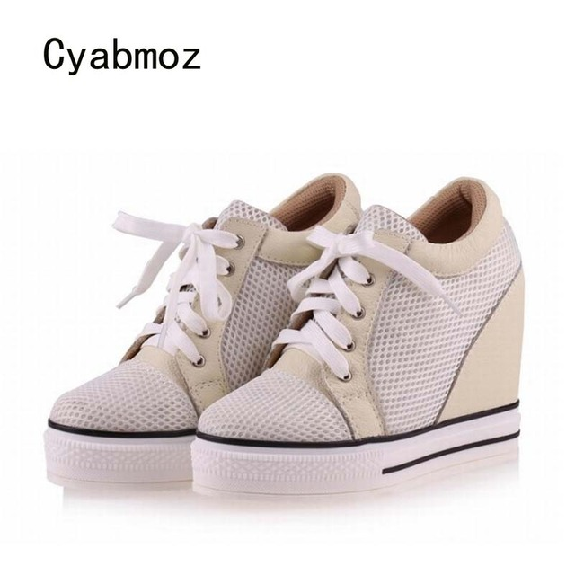Fashion White Breathable Women's Lace Up HIGH Top Platform Casual Sneakers Shoes