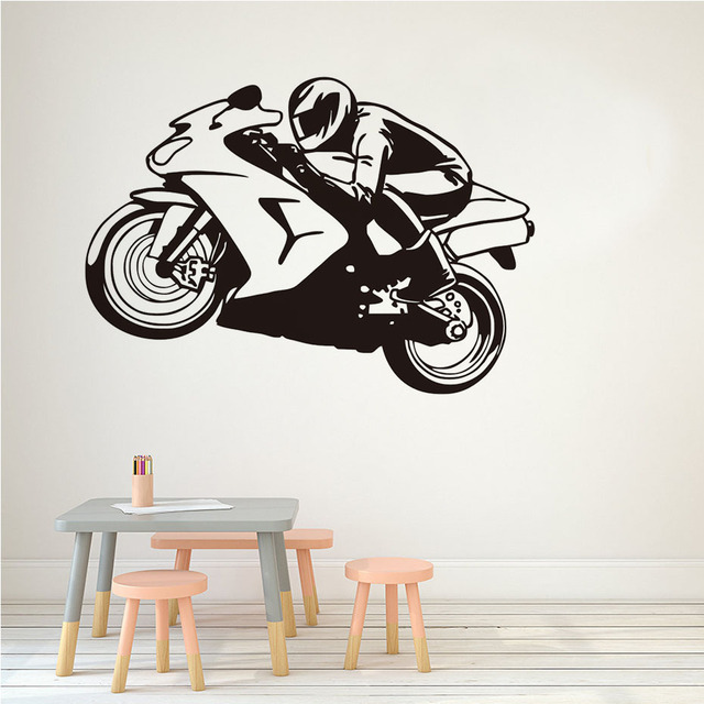 Racing Motorcycle Wall Stickers Sports Home Decorative Stickers Vinyl Adhesive Wall Decals For Living Room Kids  sc 1 st  AliExpress.com & Racing Motorcycle Wall Stickers Sports Home Decorative Stickers ...