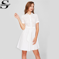 Sheinside Eyelet Embroidered Bodice Bow Waist Fit & Flare Dress Elegant Fall Lapel Neckline Short Sleeve A Line Dresses