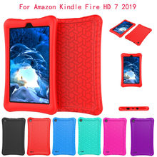 For Amazon Kindle Fire HD 7Inch 2019 Case Fun Stripe Slim Cover Silica Gel E-book Shell with Rotatable Handle for Kids(China)