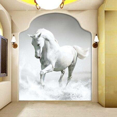Custom Large Murals 3d Photo Murals White Horse 3d Wall Mural Wallpaper for Entrance Animal Murals for Living Room custom baby wallpaper snow white and the seven dwarfs bedroom for the children s room mural backdrop stereoscopic 3d