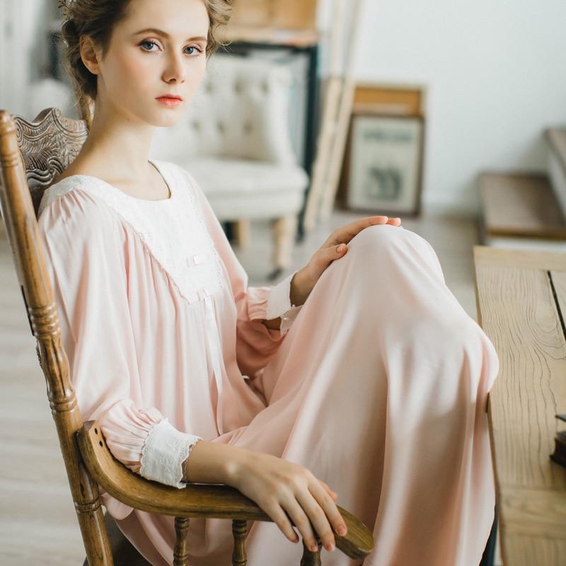 Vintage Gown Women Dress Cotton Sleepwear Nightgown Casual Sleepwear Women  Night wear European Retro Style Dress ... 3a205dd15