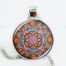 Collar plateado mandala collares colgante de chakra joyas OM para mujeres colgante cabujón de cristal Zen regalos joyería vintage