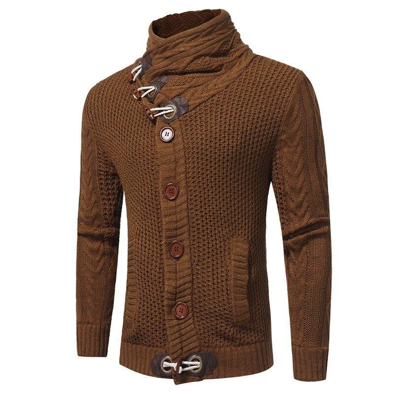 MORUANCLE nouveau hommes hiver chaud chandails col roulé épais thermique Cardigans pour homme à manches longues bouton fermeture taille S-XXL