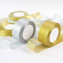 25 Yards/Lot Gold/Silver Silk Satin Organza Ribbon 0.6-5CM Glitter Embroidered Onions Lace Ribbons Wedding Cake Gift Supplies