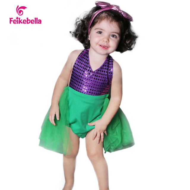 Baby Dress Mermaid Lace Girl Bodysuit Infant Costume Sequin Summer Wedding Dresses Clothing Sets+Headband Birthday Party  Newest