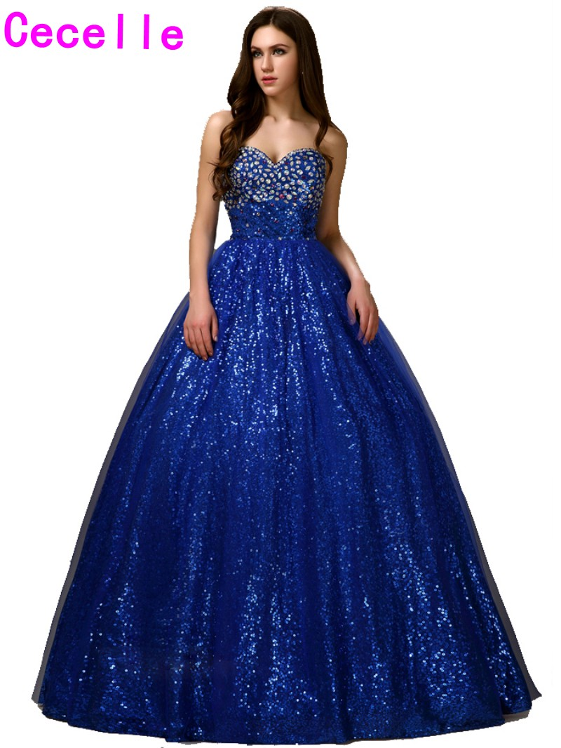 Hot Item Royal Blue Long Ball Gown Princess Prom Desses Floor Length ...