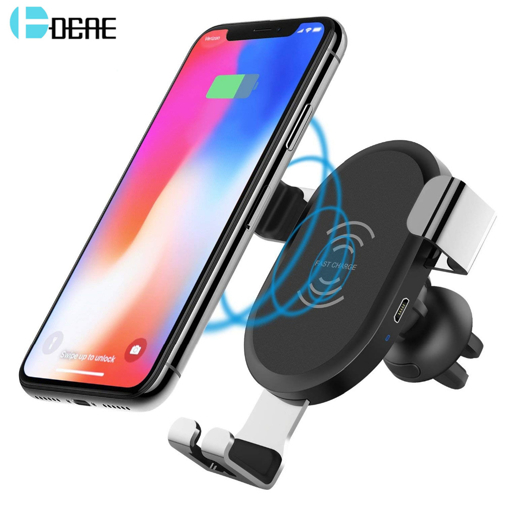 DCAE 10W Qi Wireless Car Charger For iPhone X 8 Fast Wireless Charging Air Vent Car Phone Holder Stand For Samsung Note 9 S9 S8