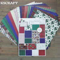 KSCRAFT Merry Christmas Decorative Gift Wrapping Paper Book Mixed Designs Festival Gift Packing Paper Kit 32sheets/lot