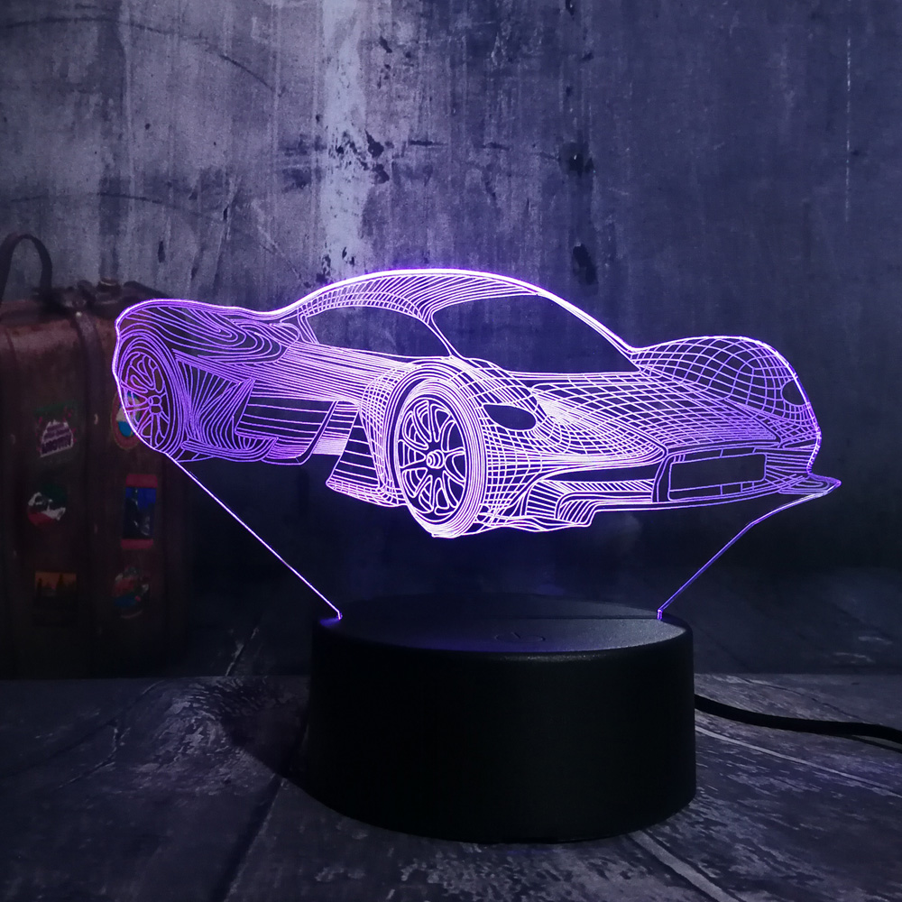 Novelty Cool Modern Feerrari <font><b>Car</b></font> <font><b>3D</b></font> <font><b>LED</b></font> <font><b>Night</b></font> <font><b>Light</b></font> 7 Color Change Touch Roome Table Lamp Home Party Decor Boy Kid Birthday Gift image