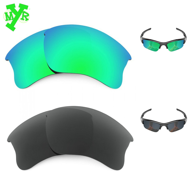 MRY Emerald Green   Stealth Black 2 Pair POLARIZED Replacement Lenses for  OAKLEY Sunglasses FLAK JACKET 3ac45ead88