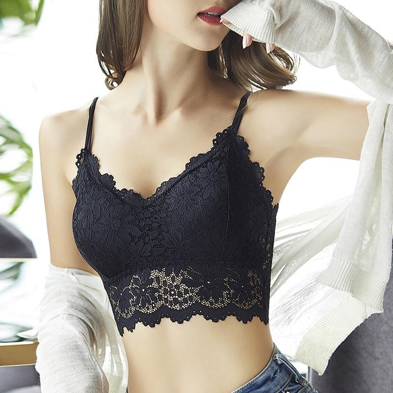 2019 Women Sexy Lingerie Corset Lace Floral Bralette Padded Bra Camis Underwear Wire Free Sheer Lace Bra Crop Tops Brassiere