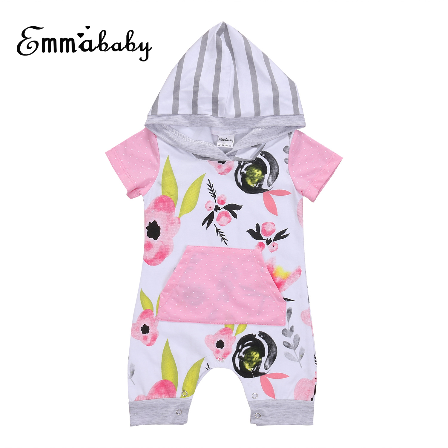 Summer new cute kid Floral print rompers Newborn Toddler Baby Girl short sleeve Hooded Romper Jumpsuit Playsuit Clothes 0-24M