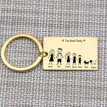 Family Love Key Chain Name Customized Personalized Pets Engraved 3 Colors For Parents Children Present Keyring Bag Charm 4