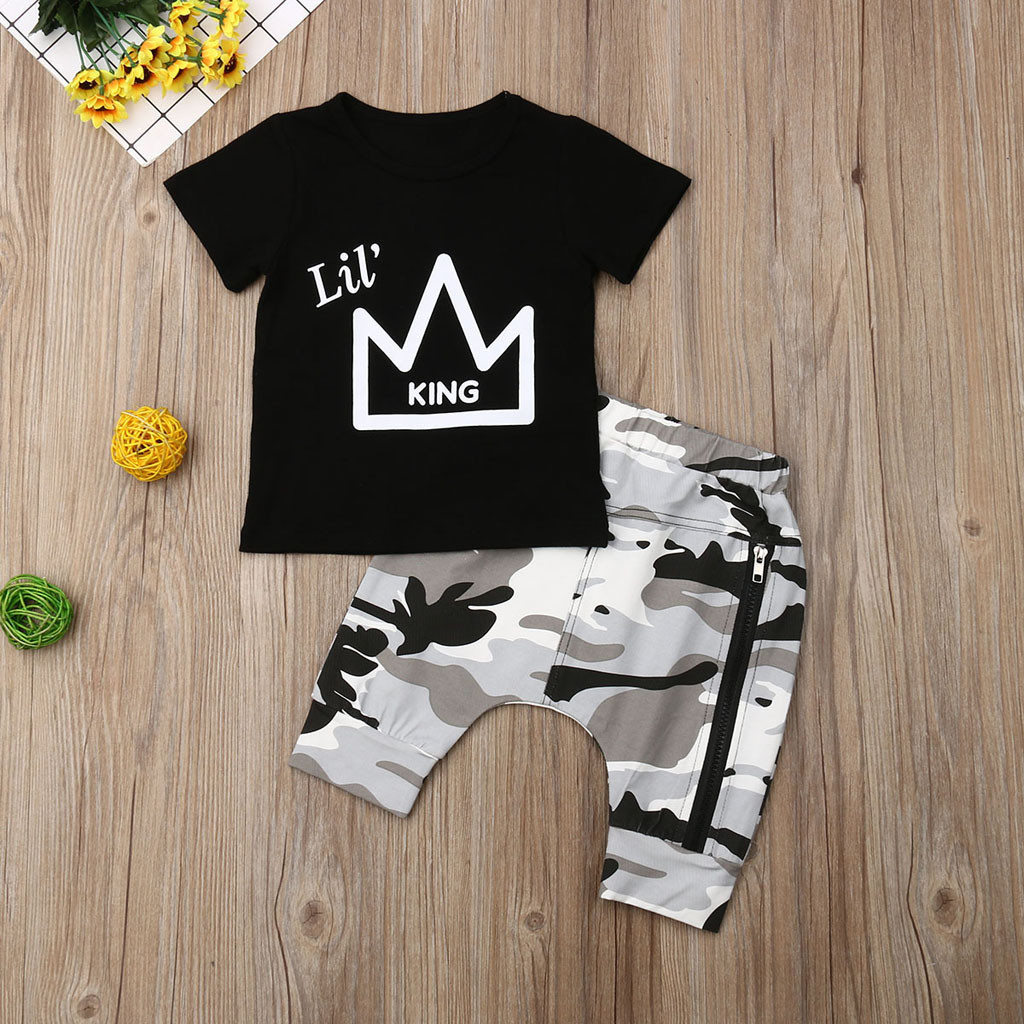 2Pcs Toddler Summer 2019 Kid Boys Clothes Fashion Letter Print T-shirt+Camouflage Shorts Boys Outfits Kids Clothing For Boys Set(China)