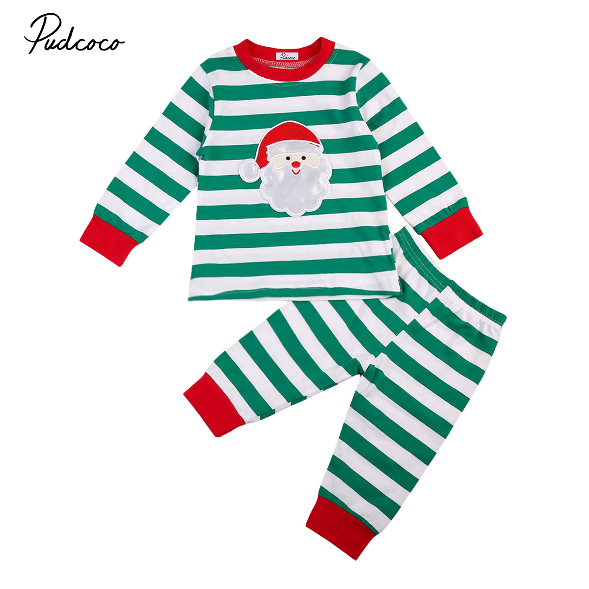 2017 Christmas Family Baby Kid Boys Girls Santa Claus Pattern Striped Long Sleeve Sleepwear Pajamas Winter Clothing Outfit my 1st christmas santa claus white top minnie dot petal skirt girls outfit nb 8y