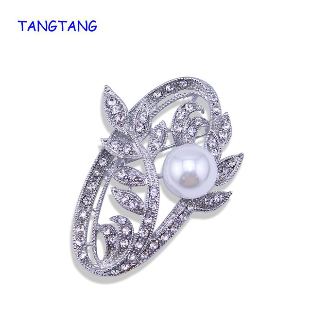 Hot Trendy Retro Vintage Style Jewelry Simulated Pearl Leaf Shape Brooch Oval Rhinestone Pin For Men & Women New Item NO.:BH8181