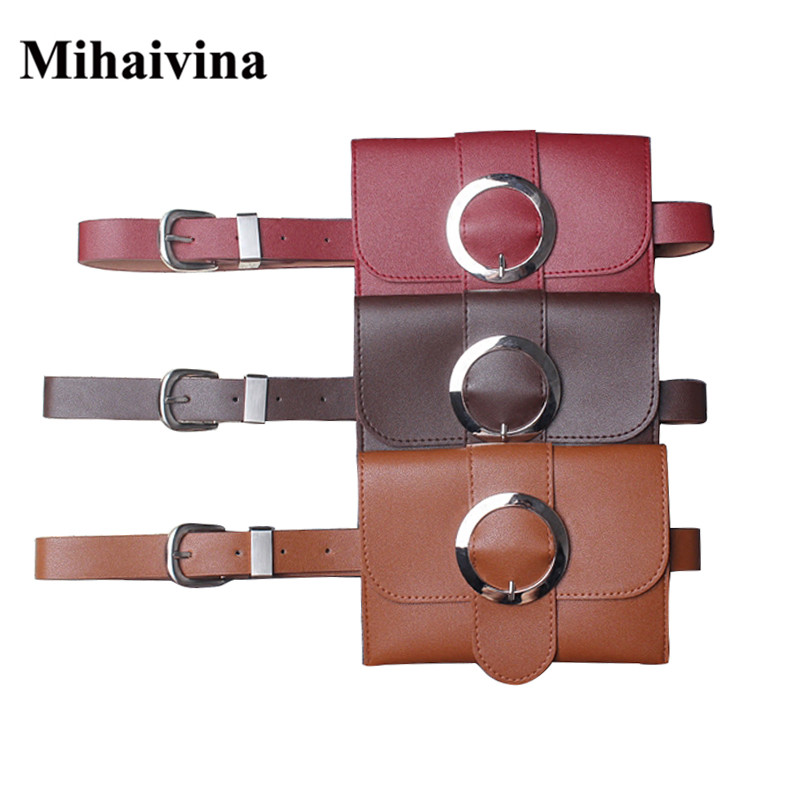 Mihaivina New Vintage Women Bag Casual Leather Waist Bag Fashion Leather Small Belt Handbag Women Bag Phone Waist Bags