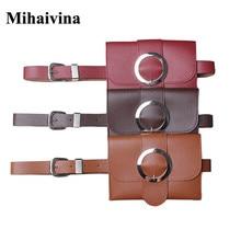 Mihaivina új szüreti női táska alkalmi bőr derék táska divat bőr kis öv kézitáska női táska telefon derék táska