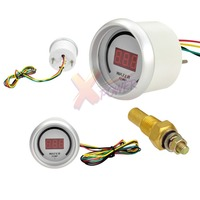 Xpower White New Auto Car 2 52mm Water Temp Red Digital Color 20 LED Temperature Gauge