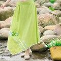 Summer Style Women 2016 New Casual Asymmetrical Mid Waist Cotton Long Maxi Skirt Fashion Green And Blue Print