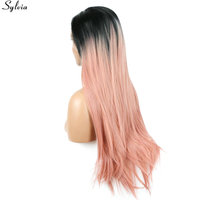 Sylvia Long Straight 1B Black Root Ombre Pink Pastel Two Tone Synthetic Lace Front Wigs Heat