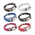 Atacado Botão Snap Bracelet & Bangles 6 cores de Alta qualidade PU de couro Pulseiras Para As Mulheres 18mm Botão Snap Jóias ZE106