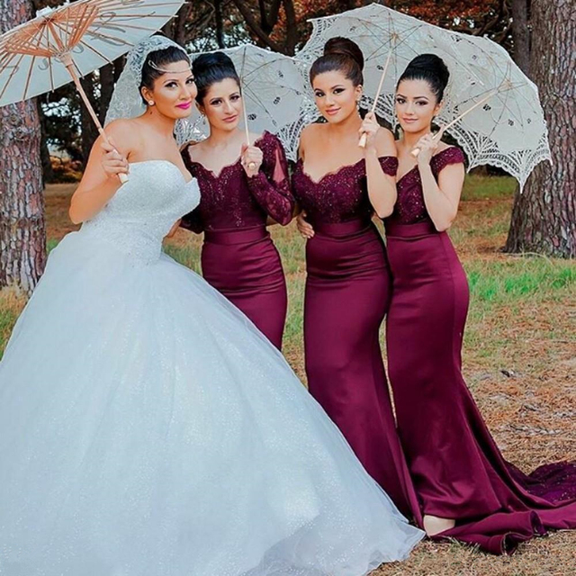 2017 Mermaid Burgundy Bridesmaid Dresses Weddings Party Gowns Off Shoulder Long Sleeve Lace Liques Plus Maid